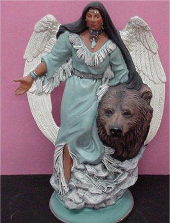 "Unpainted Ceramic Angel w/ Bear 12.5"""