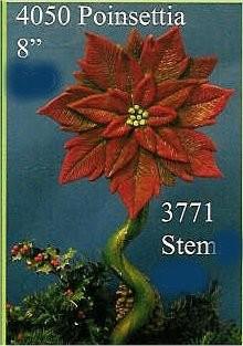 """Poinsettia & Stem 8""""Dia"""