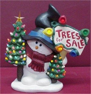 """Snowman w/Trees for Sale 13""""t"""