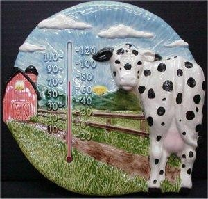 Barn & Cow Plaque w/therm.11""