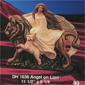 """DH Angel Riding Lion 9""""T"""