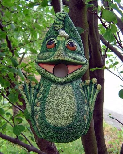 """DH Frog Birdhouse 11x7"""" rope kit included"""