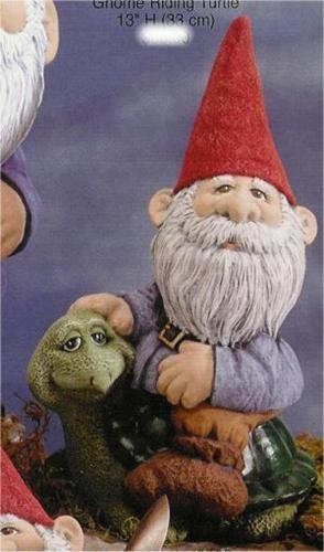 "Gnome Riding Turtle 13""H"