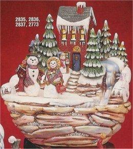 """Winter Fountain w/Snowmen 11""""t"""