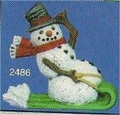 "Snowman on Sled Orn. 3""t"