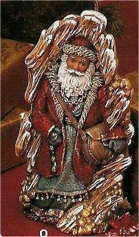 "Wood Carved Santa 11.5""t"