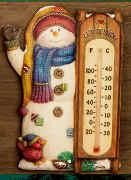 "Snowman Thermometer 11""t Therm. included"