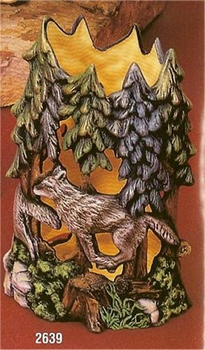 """Timber Wolf Vase Cut Out 8.5""""t"""