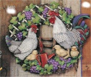 "Rooster Wreath 17""D"