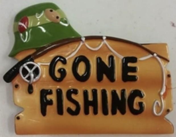 "KP Gone Fishing Orn. 2.5""x3"""
