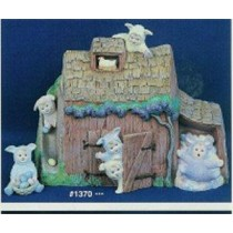 "Bunny Barn w/BunnyBabies 8.5""Tx10.5""W"