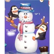 """CPI Snowman w/Penguins 14""""T"""