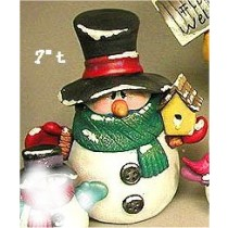 "CPI Snowman Tubby w/BirdHouse 7""t."