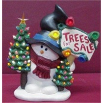 "Snowman w/Trees for Sale 13""t"